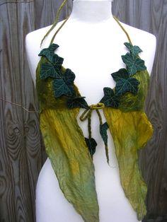 Ivy Leaf Nuno Felt Faerie Top Halter Top Fairy Costume by folkowl Faerie Costume, Fairy Costumes, Olaf Costume, Costume Halloween, Cosplay, Elfa, Fairy Clothes, Felt Fairy, Festival Tops