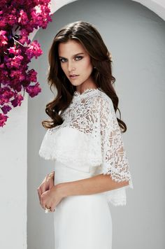 Beautiful cape! Gown 2120 | Mikaella Bridal ~ #bridalgown #coverup