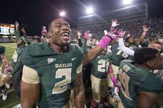 Oct 19, 2013; Waco, TX, USA; Baylor Bears defensive end Shawn Oakman (2) celebrates the win over the Iowa State Cyclones at Floyd Casey Stadium. The Bears defeated the Cyclones 71-7. Mandatory Credit: Jerome Miron-USA TODAY Sports (4000×2662)