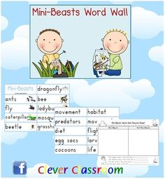 Insects and Mini Beasts Word Wall - PDF file8 page, themed word wall resource. One of our most popular downloads!Revised to now include a r...