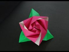 ▶ Origami Flower Tutorial - How to fold Origami Rose Cube - YouTube
