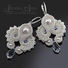 680 Anna Lipowska LiAnna Biżuteria sutasz   soutache  www.lianna.blox.pl Soutache Earrings, Wedding Dinner, Silk Ribbon, Shibori, Wedding Accessories, Bridal Jewelry, Wedding Favors, Belly Button Rings, Jewelery
