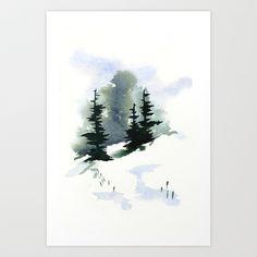 Snowy+Hillside+Watercolor+Art+Print+by+Frances+Dierken+-+$16.00