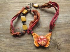 Mixed Media Rustic Boho Gypsy Polymer Clay Free Spirit Necklace on Sari Silk Ribbon & Yellow Marble Beads Wire Wrapped w/ Pure Copper Wire by SpontaneousSoul on etsy