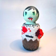Zombie Felt Wood Peg Doll by Wondercake Designs
