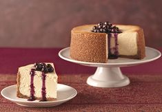 Goat Cheese Cheesecake with Blueberry Sauce from our friends at ALDI is sure to give the pumpkin pie a run for its money at your holiday party.