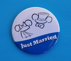 Just Married Ears Button - Mr. & Mrs. - Disney Wedding - Disney Cruise - Disney World - Disneyland - Celebration Button - Bride and Groom by PixieDustedStitches on Etsy https://www.etsy.com/listing/511457275/just-married-ears-button-mr-mrs-disney