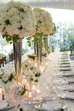 White garden roses and hydrangeas