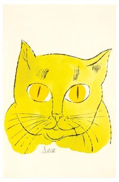 "Andy Warhol (1928-1987) - ""Sam"" from ""25 cats named Sam, and one blue pussy"" - offset lithograph with extensive hand-coloring in watercolour, 1954"