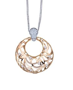 18kt Rose Gold Safari Open Round Pendant with diamonds - by Bergio