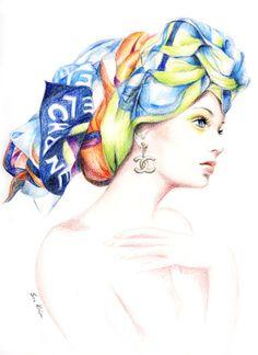 Lápiz de Chanel bufanda moda ilustración color impresión de dibujo