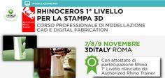 """3DiTALY presenta il workshop """"Rhinoceros 1° Livello per la Stampa3d""""! Un percorso completo e professionale che parte dalla modellazione CAD fino ad arrivare alla realizzazione fisica dei modelli. http://www.3ditaly.it/corso-rhinoceros-1-livello-per-stampa-3d/"""