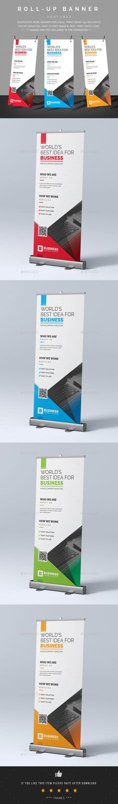Corporate Roll-Up Banner Template PSD - Graphic Files Standee Design, Banner Design, Letterhead Template, Brochure Template, Banner Template, Flyer Template, Roll Up Design, Rollup Banner, Banner Stands