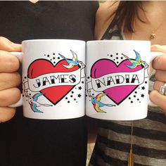 Personalized Flying Sparrow Tattoo Heart Mug Set