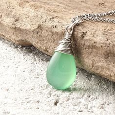 Gemstone jewelry, sterling silver necklace, dangle necklace, simple fine jewelry, wire wrapped necklace, green onyx pendant, chain necklace