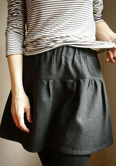 french tee & wool skirt. love the stripey casual shirt with the tights. makes it so daytime and fun