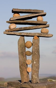 "Vertical Stack Rock Balance by ""escher is still alive"", (Richard Shilling)  Land Art"