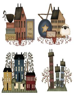 Primitive Saltbox houses wall decals / by FancyHairFeathers, $13.00