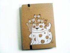 Riservato per Amanda, quaderni in carta di bamboo, decorati a mano, collage e inchiostro, A6. GabLabmadeinItaly.etsy.com #cats#illustration#cat notebook#