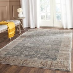 Safavieh Valencia Dark Grey/ Light Grey Distressed Silky Polyester Rug (8' x 10')