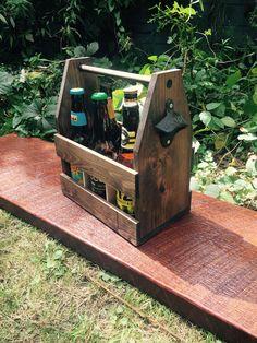 Beer Caddy Beer tote groomsmen gift! Wooden Cooler, Beer Caddy, Diy Cooler, Building Ideas, Groomsman Gifts, Woodworking Ideas, Groomsmen, Etsy Seller, Create
