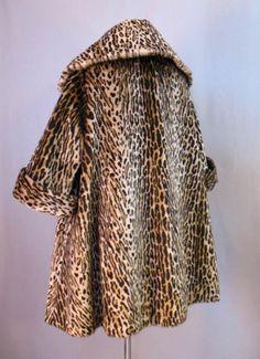 Vintage 50s Swing Coat Faux Leopard Fur Large XL bust 48 at Couture Allure Vintage Clothing
