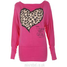 Heart Print Batwing Top in Cerise ($9.67) ❤ liked on Polyvore