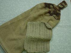 Handmade Tan Hand Crochet Kitchen towel with a by MarlenesAttic, $11.00