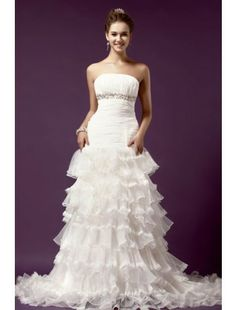 Amazing Sheath Strapless Chapel Train Organza Beach Wedding Dress