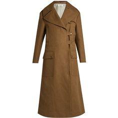 Valentino Peak-lapel fur-panelled canvas coat ($11,200) via Polyvore featuring outerwear, coats, khaki, valentino coat, brown coat, military style coat, military coat and brown fur coat