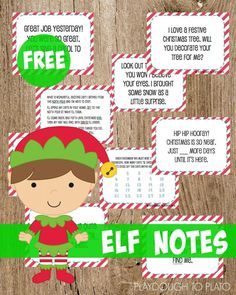 Free Elf on the Shelf Notes!! Does your family have an self on the Shelf? Some awesome ideas  for this mischievous elf that your kids will love! #elfonashelf #elfnotes #playdoughtoplato