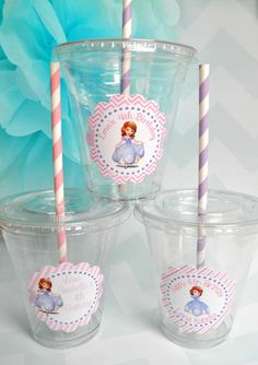 Sofia the First Party Cups, Lids & Straws - Set of 24 on Etsy, $16.00