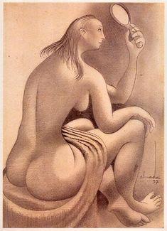 « Nu ao espelho »  Lápis sobre papel ,1937.  361x256 mm  José de Almada Negreiros