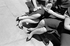 Henri Cartier Bresson.1960 Beautiful, squiggly, bendy, legs and arms - dames. Wonderful composition and light.