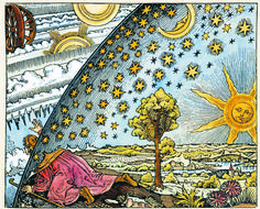 """Medieval missionary discovering the point where heaven and earth meet, twentieth-century coloration of black-and-white engraving from """"The Atmosphere,"""" by Camille Flammarion, 1888. © The Art Archive / Kharbine-Tapabor"""