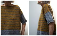 Tweedy — Stripey (Photos: wychfingers) New to Ravelry just this week, Stripey–Tweedy by Leslie Weber is a roomy, boxy pullover designed to be worn with lots of positive ease. What I lov… Knitting Patterns Free, Free Pattern, Crochet Patterns, Brooklyn Tweed, Pullover Designs, Learn How To Knit, Knitting Projects, Lana, Knitwear