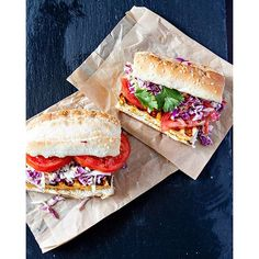 A Grilled Buffalo Tofu Po' Boy #sandwich for lunch? Yes please, it is #NationalSandwichDay, after all! Make a creamy slaw with #EarthBalance MindfulMayo™ Dressing and Sandwich Spread, marinate your #tofu with a spicy #homemade buffalo sauce and enjoy!  #EBHolidayBakeOff2015