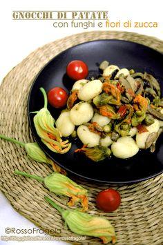 Gnocchi di patate ai funghi e fiori di zucca