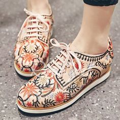 Fashionable Lace-Up and Embroidery Design Flat Shoes For Women Flats | RoseGal.com Mobile