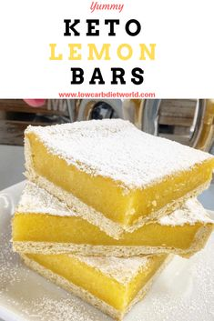 This looks delicious, but I would prefer a recipe that uses less almond flour Keto Lemon Bars - Low Carb Diet World Low Carb Keto, Low Carb Recipes, Healthy Recipes, Keto Bars, Low Carb Deserts, Keto Cookies, Keto Snacks, The Best, Dessert Recipes