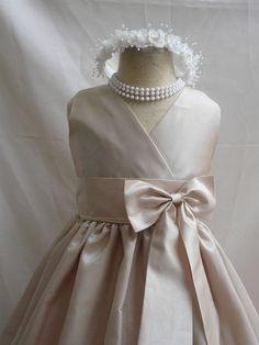 Flower Girl Dress CHAMPAGNE w/ Champagne VN for by mykidstudio