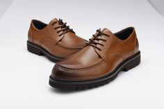 FGN Brand Men's Round Toe Genuine Leather Oxfords Shoes Outdoor Oxfords T560326 -Brown