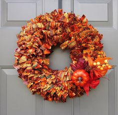 Your place to buy and sell all things handmade Rag Wreaths, Deco Mesh Wreaths, Fall Months, Changing Leaves, Fabric Wreath, Pinking Shears, Pumpkin Wreath, Fabric Pumpkins, Little Pumpkin