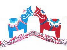 awesome dala horse paper decoration. attach it to a wall somehow?
