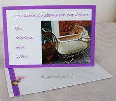 "Karte Glückwunschkarte Geburt Taufe ""vintage"" von PHOTOGLÜCK auf DaWanda.com"