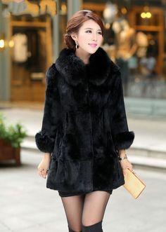 Real 100%  Rabbit Fur Fox  Collar Women Coat Jacket Overcoat Garment