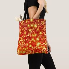 Hearts On Fire Tote Bag - cat cats kitten kitty pet love pussy