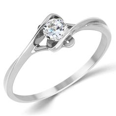 14K-Solid-White-Gold-CZ-Cubic-Zirconia-Solitaire-Engagement-Promise-Ring