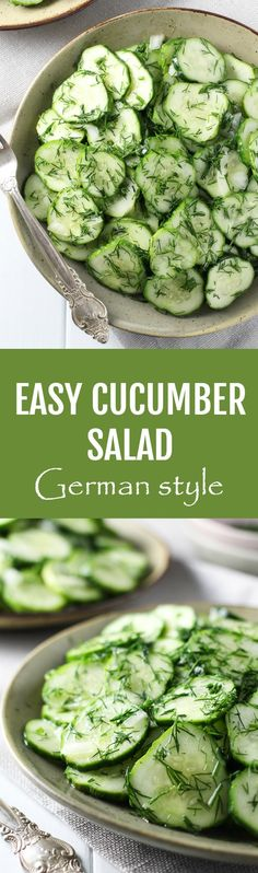 This German cucumber salad with dill and onion is crunchy and refreshing. It's perfect for a family dinner or a party and the leftovers taste great too. Two dressing options are provided - you can make it with vinegar and oil or with a sour cream or yogurt based creamy dressing. This simple recipe is very quick and easy to make. Vegetarian or vegan options, gluten-free. #German #salad #cucumber #dill #vegan #vegetarian #recipe #healthy #cleaneating Cucumber Salad Vinegar, Creamy Cucumber Salad, German Cucumber Salad, Cucumber Recipes, Salad Recipes, Cucumbers And Onions, Creamed Cucumbers, Petits Plats, Soup And Salad