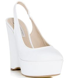 White canvas pointed toe slingback strap faux leather piping high wedge heel platform pumps. Material: Canvas.#Matchesfashion